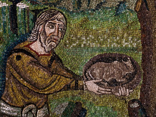 Stock Photo: 1788-54698 Abraham offering a calf to the angels coming to announce the birth of a child, detail from Stories of Abraham, mosaic, lunette, northern wall of the presbytery, Basilica of San Vitale (UNESCO World Heritage List, 1996), Ravenna, Emilia-Romagna. Italy, 6th century.