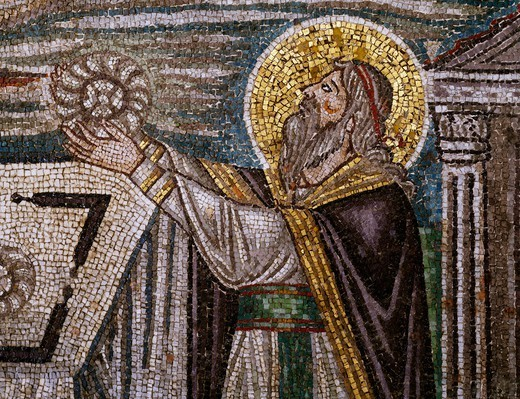 Stock Photo: 1788-54699 Melchizedek bringing bread as an offering, detail from the Sacrifices of Abel and Melchizedek, mosaic, lunette, south wall of the presbytery, Basilica of San Vitale (UNESCO World Heritage List, 1996), Ravenna, Emilia-Romagna. Italy, 6th century.