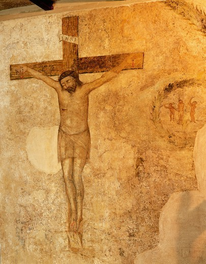 Christ Crucified, by an unknown artist, fresco, Convent of the Shrine of St Rita of Cascia, Cascia, Umbria. Italy, 15th century. : Stock Photo