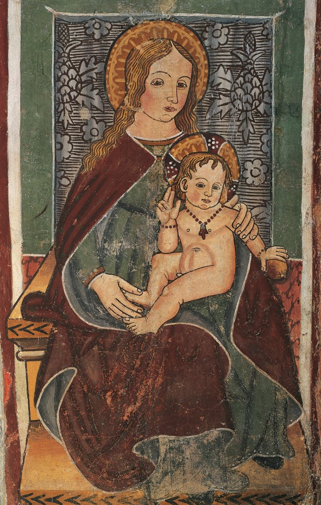 Maternity of the Blessed Virgin, fresco, Chapel of the Doctors, Quinto Vercellese. Italy, 10th century. : Stock Photo