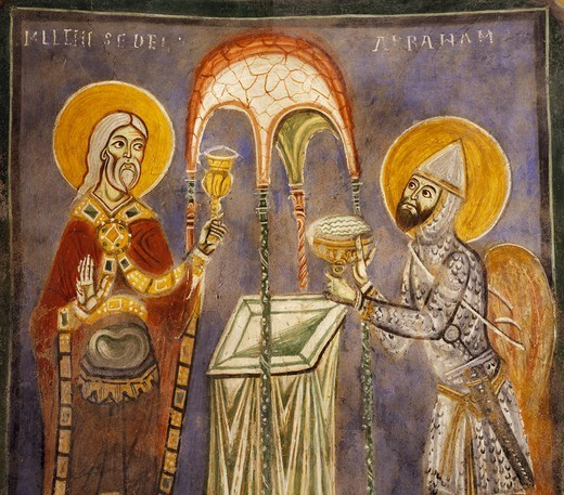 Stock Photo: 1788-54792 Abraham and Melchizedek, early 13th century fresco in the Crypt of St Magnus, St Mary Cathedral, Anagni, Lazio. Italy, 13th century.