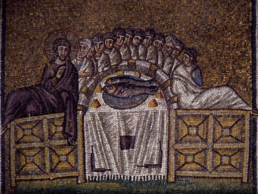 Last Supper, mosaic, south wall, upper level, Basilica of Sant'Apollinare Nuovo (UNESCO World Heritage List, 1996), Ravenna, Emilia-Romagna. Italy, 5th-6th century. : Stock Photo