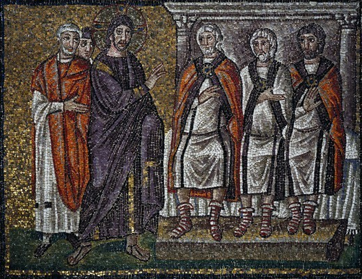 Jesus in front of the Sanhedrin, mosaic, south wall, upper level, Basilica of Sant'Apollinare Nuovo (UNESCO World Heritage List, 1996), Ravenna, Emilia-Romagna. Italy, 5th-6th century. : Stock Photo