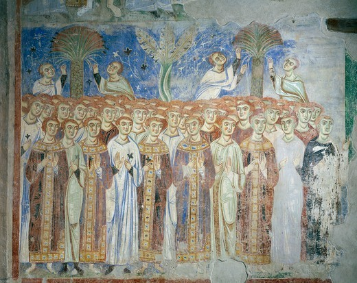 Stock Photo: 1788-54826 Common people, God's people, detail from the Universal Judgement, 1072-1078, Byzantine-Campanian school frescoes, counterfacade of the Basilica of Sant'Angelo in Formis, Sant'Angelo in Formis, Campania. Italy, 11th century.