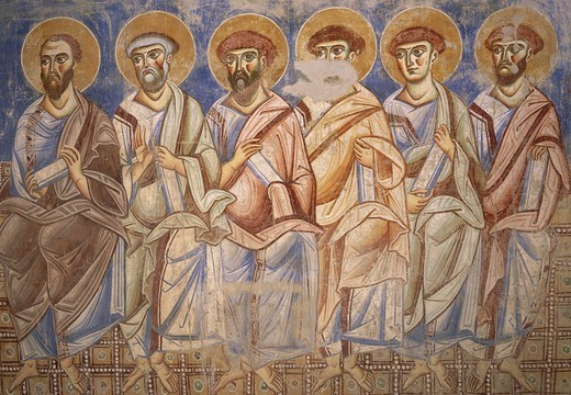Stock Photo: 1788-54828 The apostles, detail from the Universal Judgement, 1072-1078, Byzantine-Campanian school frescoes, counterfacade of the Basilica of Sant'Angelo in Formis, Sant'Angelo in Formis, Campania. Italy, 11th century.