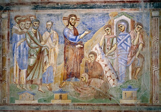 Stock Photo: 1788-54836 The Resurrection of Lazarus, detail from the Stories of the New Testament, 1072-1078, Byzantine-Campanian school frescoes, right side of the nave of Basilica of Sant'Angelo in Formis, Sant'Angelo in Formis, Campania. Italy, 11th century.