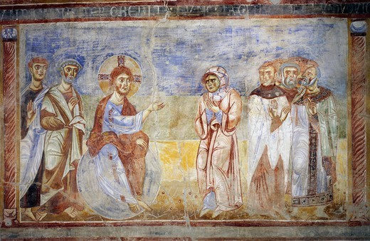 The Adulterous Woman, detail from the Stories of the New Testament, 1072-1078, Byzantine-Campanian school frescoes, right side of the nave of Basilica of Sant'Angelo in Formis, Sant'Angelo in Formis, Campania. Italy, 11th century. : Stock Photo