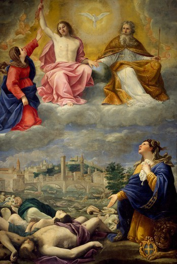 Verona begging the Holy Trinity for the cessation of the plague, 1630, by Antonio Giarola (ca 1595-1665), upper church, Church of San Fermo Maggiore, Verona (UNESCO World Heritage List, 2000), Veneto. Italy, 17th century. : Stock Photo
