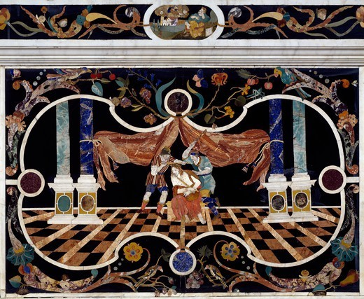 Stock Photo: 1788-54850 Flagellation, 1670, by Francesco and Antonio Corbarelli, inlaid with semiprecious stones, altar, Church of Santa Corona, Vicenza, Veneto. Italy, 17th century.
