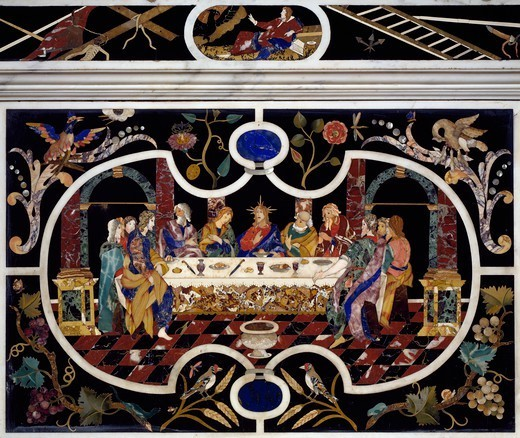 Stock Photo: 1788-54851 Last Supper, 1670, by Francesco and Antonio Corbarelli, inlaid with semiprecious stones, altar, Church of Santa Corona, Vicenza, Veneto. Italy, 17th century.