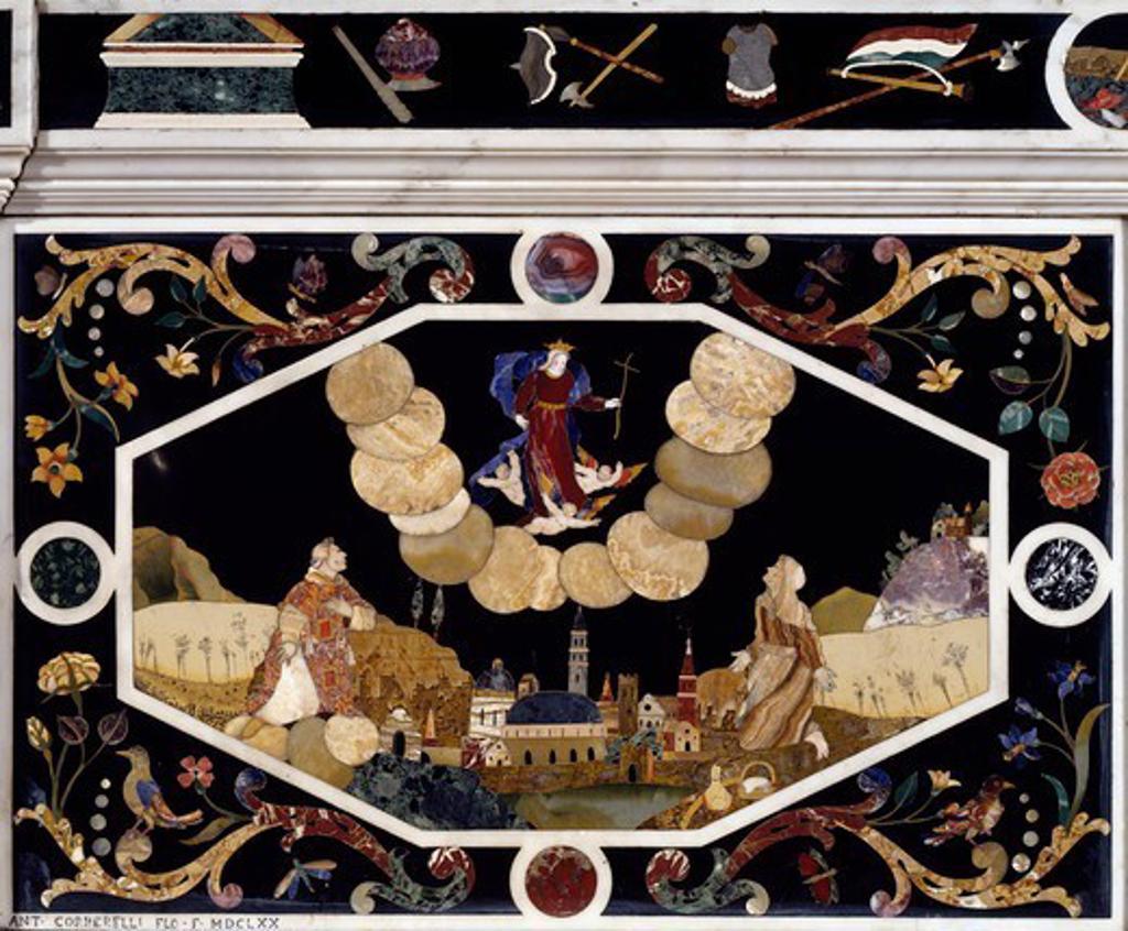 Stock Photo: 1788-54852 Apparition of the Virgin of Monte Berico, 1670, by Francesco and Antonio Corbarelli, inlaid with semiprecious stones, altar, Church of Santa Corona, Vicenza, Veneto. Italy, 17th century.