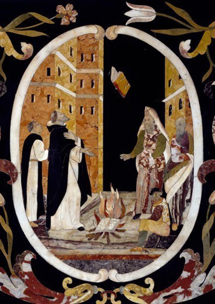 Inquisition, auto-da-fe (act of faith), 1670, by Francesco and Antonio Corbarelli, inlaid with semiprecious stones, altar, Church of Santa Corona, Vicenza, Veneto. Italy, 17th century. : Stock Photo