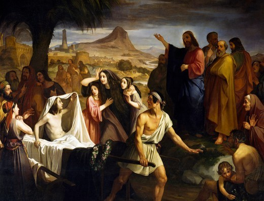 The resurrection of the widow of Naim's son, by Enrico Pollastrini (1817-1876), Church of St Mary of Succour, Livorno, Tuscany. Italy, 19th century. : Stock Photo