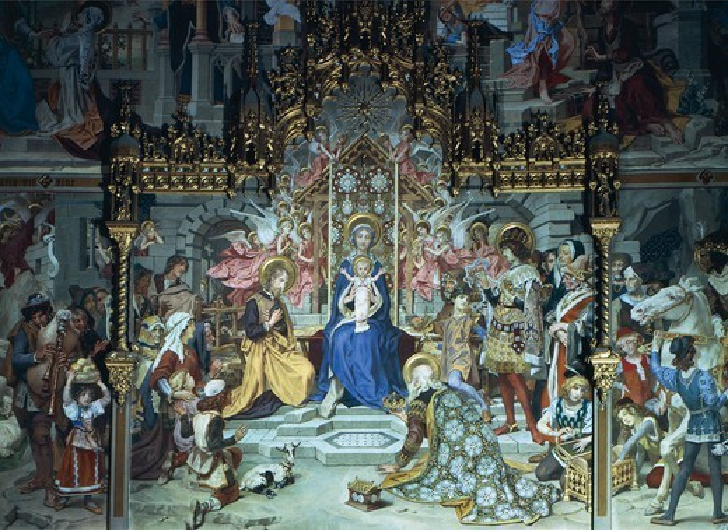 Nativity of Jesus, 1892, Ludwig Seitz (1844-1908), fresco, Chapel Choir or German Chapel, Sanctuary of the Holy House, Loreto, Marche. Detail. Italy, 19th century. : Stock Photo