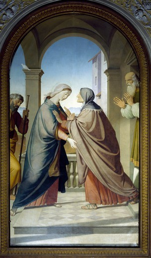 Stock Photo: 1788-54913 Visitation, 1867, by Friedrich Overbeck, Shrine of the Madonna della Stella, Montefalco, Umbria. Italy, 19th century.