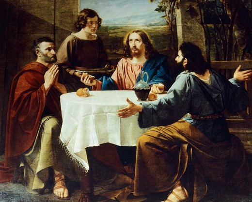 Stock Photo: 1788-54914 Supper at Emmaus, 1837, by Enrico Bandini (1807-1888), painting, Saint Lawrence and Saint Stephen Church, Sala Baganza, near Parma, Emilia-Romagna. Italy, 19th century.
