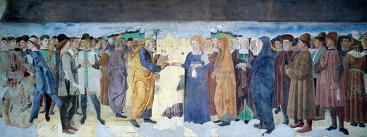 The Marriage of the Virgin, 1496, by Lorenzo da Viterbo, fresco. Mazzatosta Chapel, St Mary of the Trinity, Viterbo. Italy, 15th century. : Stock Photo