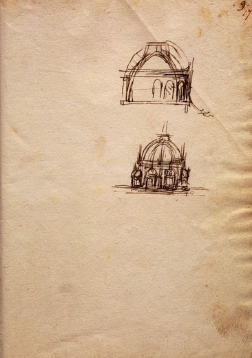 Studies for the lantern of the cathedral, from The Codex Trivulzianus, 1478-1490, by Leonardo da Vinci (1452-1519), folio 9 recto sepia ink, page 17 red ink. : Stock Photo