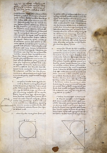 Stock Photo: 1788-54952 Geometry studies, from Codex Ashburnham 361, by Leonardo da Vinci (1452-1519), folio 32 recto.