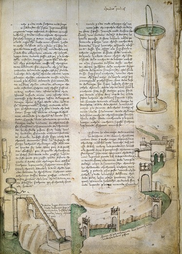 Fountain, watercourse with system of locks, machine for lifting water, from the Codex Ashburnham 361, by Leonardo da Vinci (1452-1519), folio 41 recto. : Stock Photo