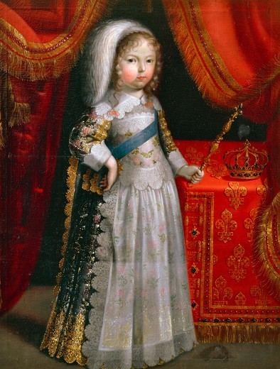 Portrait of Louis XIV as a child, known as the Sun King (1638-1715), King of France from 1643 to 1715. Painting preserved within, Chateau de Lantheuil, France. : Stock Photo