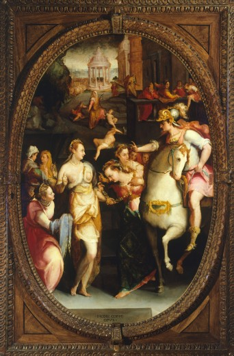 Stock Photo: 1788-55118 Darius' family before Alexander, by Jacopo Coppi (1523-1591). Studiolo (small study) of Francesco I, Palazzo Vecchio, Florence. Italy, 16th century.
