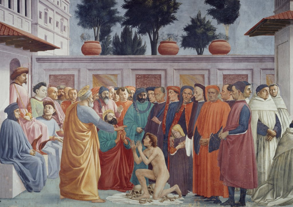 Raising of the Son of Theophilus, fresco by Tommaso Masaccio (1401-1428) completed by Filippo Lippi (1406-1469). Brancacci Chapel, Church of Santa Maria del Carmine, Florence. Italy, 15th century. : Stock Photo