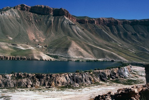 Stock Photo: 1788-57005 Band-e Amir Lakes in Bamyan, the lakes are separated by natural travertine dams, Afghanistan.