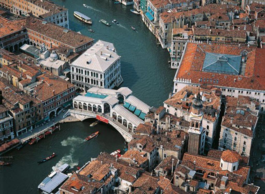 Italy - Veneto Region - Venice - Rialto Bridge - Aerial view : Stock Photo