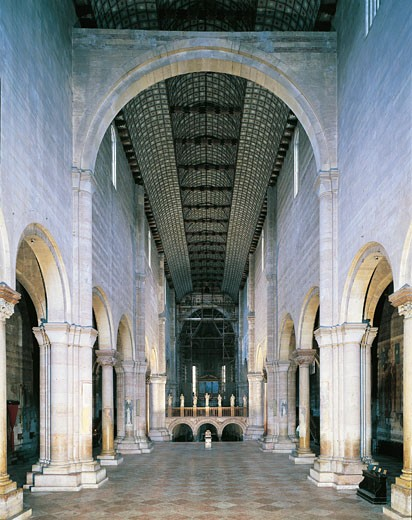 Italy - Veneto Region - Verona - Basilica of St. Zeno - Central aisle : Stock Photo