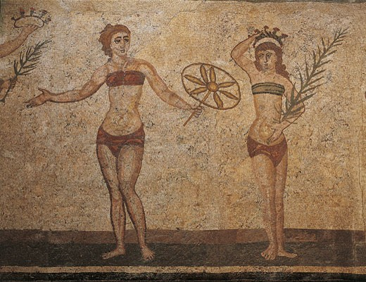 Italy - Sicily Region - Piazza Armerina - Roman Villa of Casale (4th century) - Room of the Ten Girls - The prizegiving - Mosaic work - Detail : Stock Photo