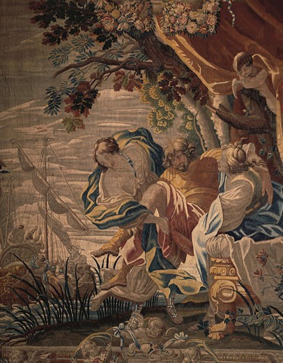 Close-up of a painting depicting story of Ulysses, Chateau de Cheverny, Centre, France : Stock Photo