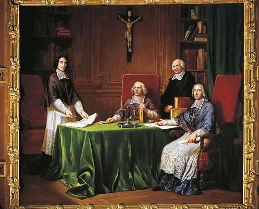 Stock Photo: 1788-6541 France - 17th century - Jacques-Bénigne Bossuet, bishop of Meaux, Louis-Antoine de Noailles, bishop of Châlons, and François Fénelon, archbishop of Cambrai at conference in Issy-les-Moulineaux, 1697. 19th century painting, Chateau de Maintenon