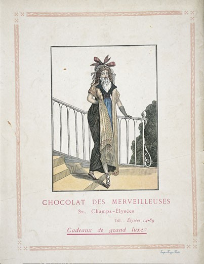 France - 19th century - Chocolat des Merveilleuses. Coloured engraving, 1820 : Stock Photo
