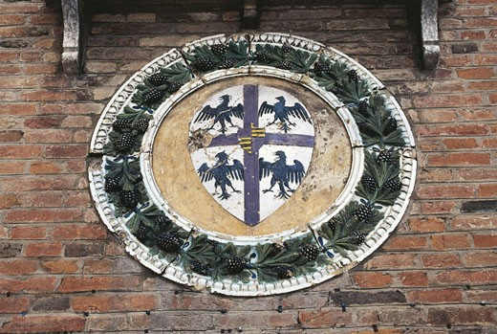 Italy - Emilia Romagna Region - Luzzara - Gonzaga Palace - Detail of Glazed Terracotta Heraldic Bearings of Gonzaga Family : Stock Photo