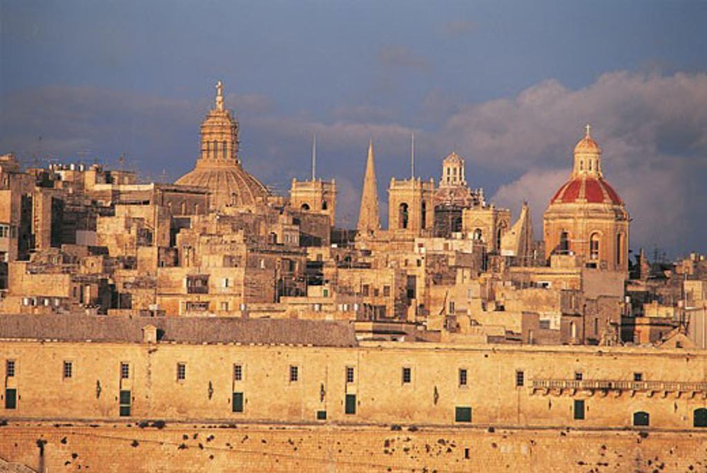 Houses in a town, Knights Hospitaller, Valletta, Malta : Stock Photo