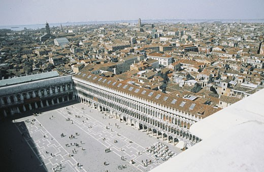 Stock Photo: 1788-6929 Italy - Veneto Region - Venice - St. Mark's Square as seen from the Basilica bell tower