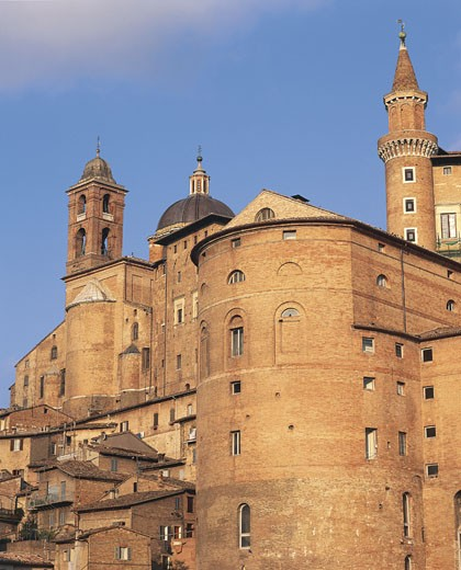 Italy - Marche Region - Urbino. Historical Urbino (UNESCO World Heritage Site, 1998). 15th century Cathedral and Ducal Palace, now the National Gallery of The Marches : Stock Photo