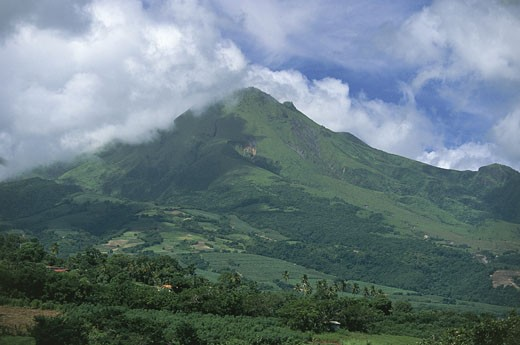 Stock Photo: 1788-7470 Clouds over mountains, Mt. Pelee Volcano, Martinique