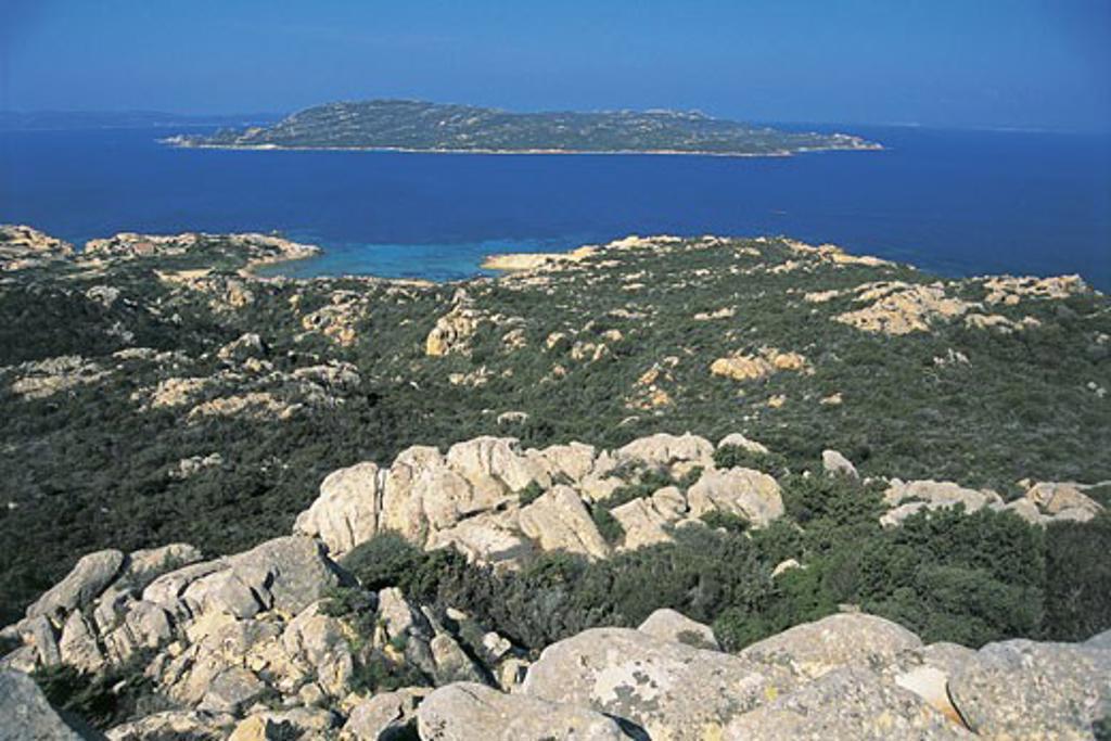 Panoramic view of islands, Spargi Island, La Maddalena Islands, Sardinia, Italy : Stock Photo