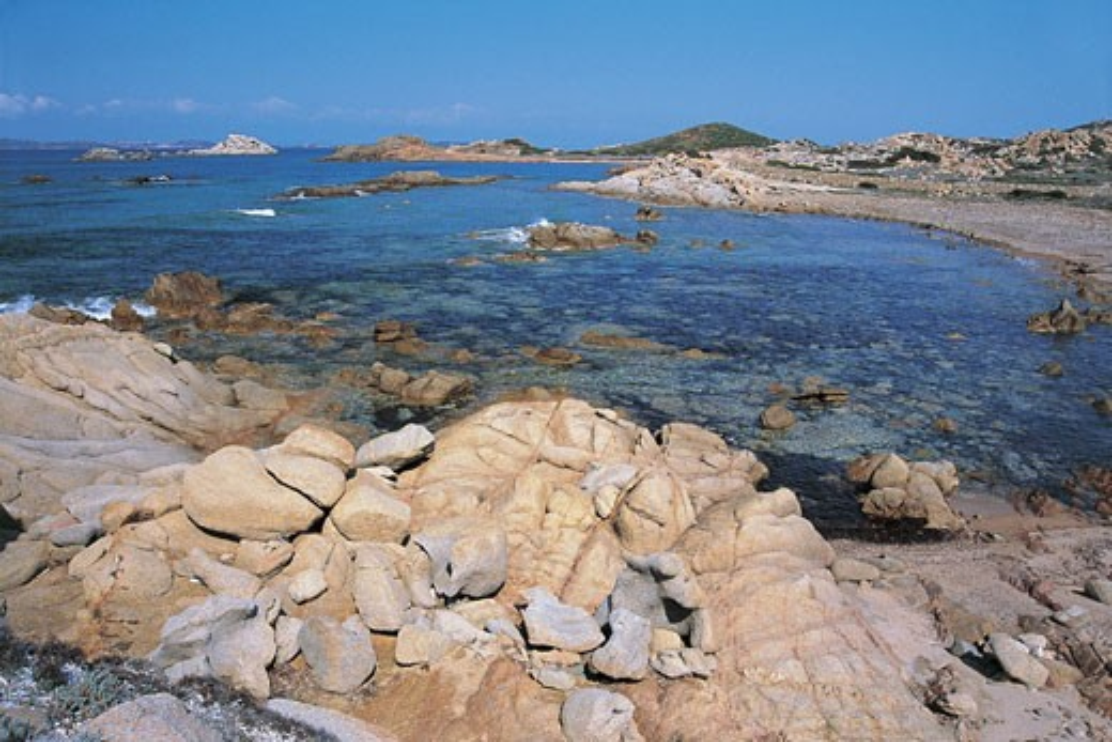 Panoramic view of a coastline, Trinita Beach, La Maddalena Islands, Sardinia, Italy : Stock Photo