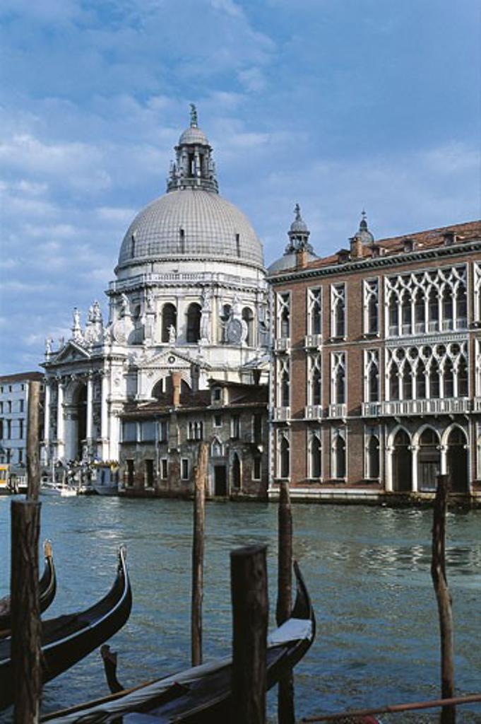 Stock Photo: 1788-8149 Italy - Veneto Region - Venice - Grand Canal and the Basilica di Santa Maria della Salute (Basilica of St Mary of Health/Salvation) from the Accademia Bridge