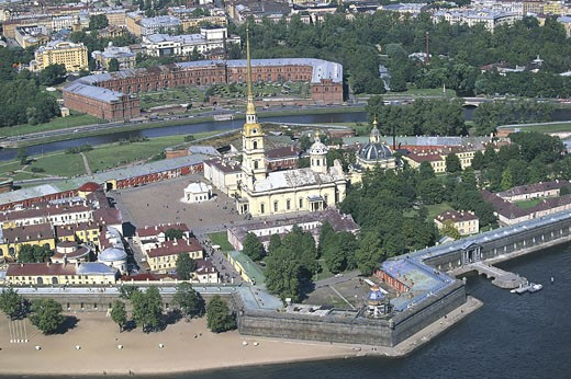 Aerial view of a fortress, Peter And Paul Fortress, St. Petersburg, Russia : Stock Photo