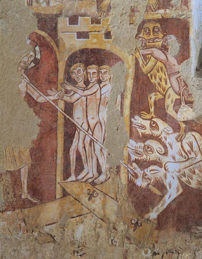 Stock Photo: 1788-8234 France - Pays de la Loire - Asnières-sur-Vègre - Church of Saint-Hilaire. Last Judgement fresco. Detail. Cerberus, underworld guard, with Christ recalling the chosen souls from Limbo. 14th century