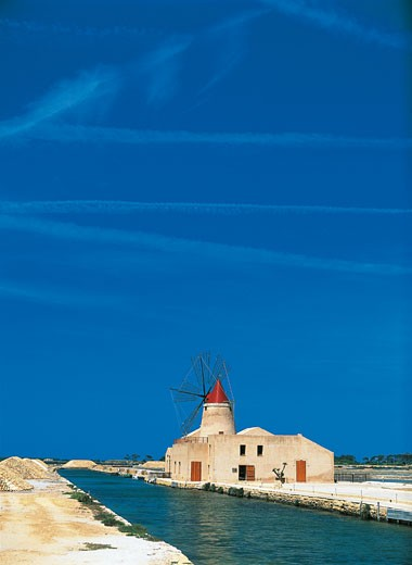 Stock Photo: 1788-8736 Windmill near salt flats, Infersa Saltworks, Marsala, Sicily, Italy