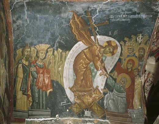 Cyprus, Troodos Mountains, mural in Byzantine Church of Ayios Nikolaos tis Steyis : Stock Photo