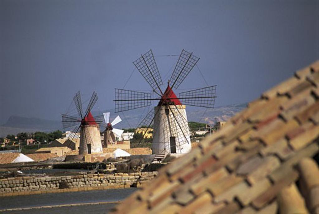 Traditional windmills in a town, Riserva Naturale integrale Saline Di Trapani E Paceco, Sicily, Italy : Stock Photo