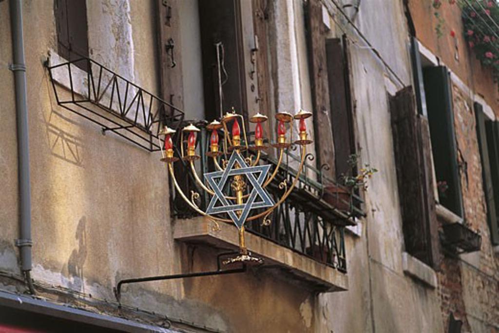 Low angle view of a jewish symbol in a ghetto, Venice, Veneto, Italy : Stock Photo