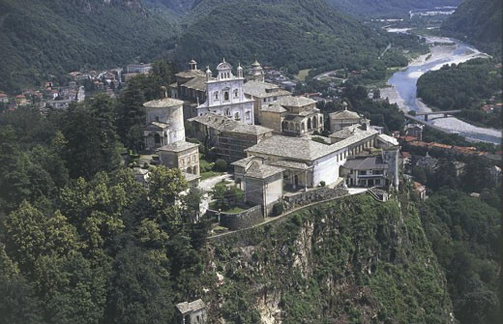 Italy, Piedmont Region, Varallo, Sacro Monte, aerial view : Stock Photo