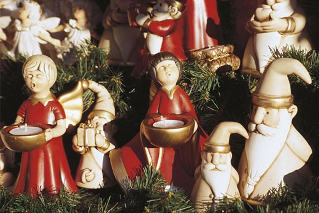 Close-up of figurines for sale, Bolzano, Trentino-Alto Adige, Italy : Stock Photo